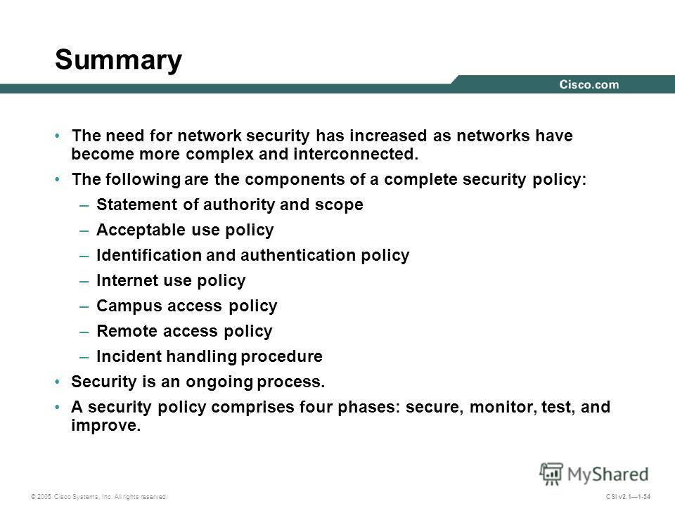 © 2005 Cisco Systems, Inc. All rights reserved. CSI v2.11-54 Summary The need for network security has increased as networks have become more complex and interconnected. The following are the components of a complete security policy: –Statement of au