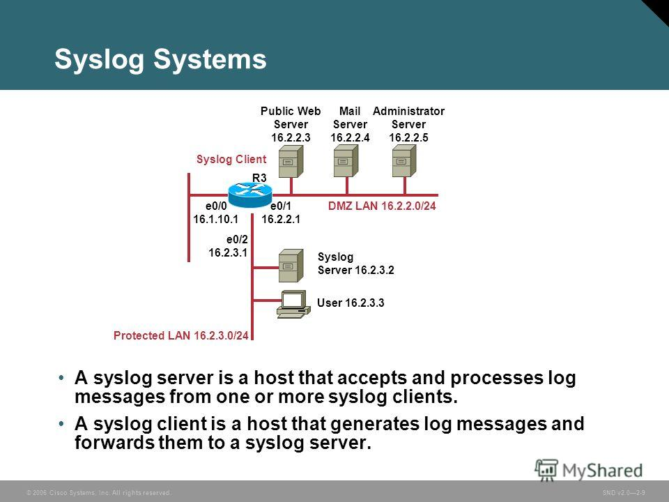© 2006 Cisco Systems, Inc. All rights reserved. SND v2.02-9 Syslog Systems A syslog server is a host that accepts and processes log messages from one or more syslog clients. A syslog client is a host that generates log messages and forwards them to a