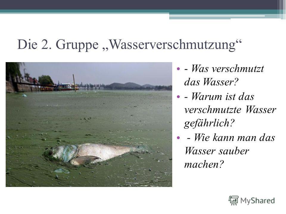 Die 2. Gruppe Wasserverschmutzung - Was verschmutzt das Wasser? - Warum ist das verschmutzte Wasser gefährlich? - Wie kann man das Wasser sauber machen?