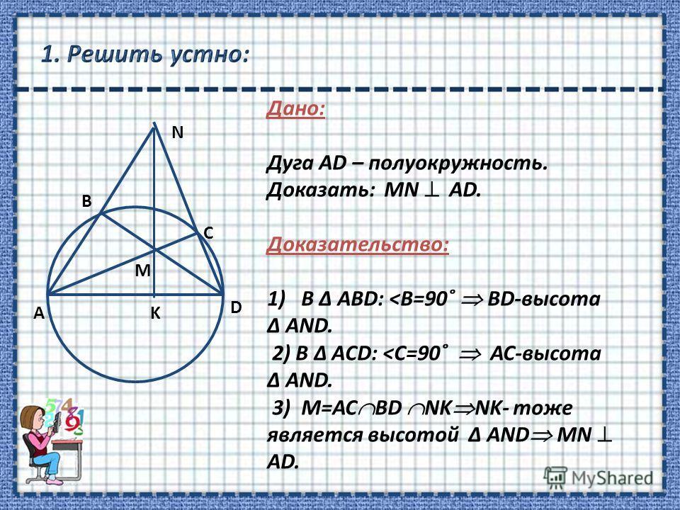 N B M C D KА Дано: Дуга АD – полуокружность. Доказать: MN АD. Доказательство: 1)В Δ ABD: