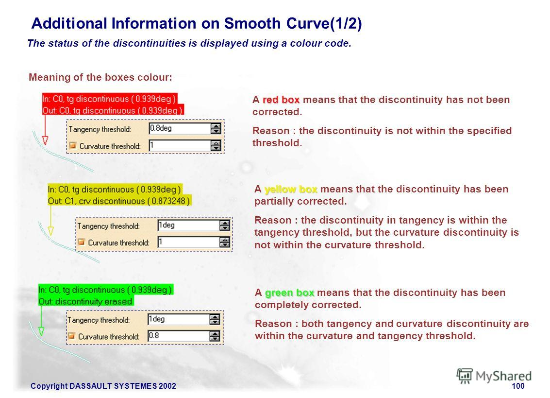 Copyright DASSAULT SYSTEMES 2002100 Additional Information on Smooth Curve(1/2) Meaning of the boxes colour: The status of the discontinuities is displayed using a colour code. red box A red box means that the discontinuity has not been corrected. Re