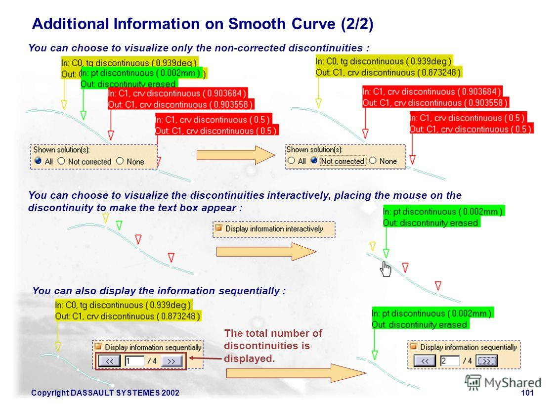 Copyright DASSAULT SYSTEMES 2002101 Additional Information on Smooth Curve (2/2) You can choose to visualize only the non-corrected discontinuities : You can choose to visualize the discontinuities interactively, placing the mouse on the discontinuit