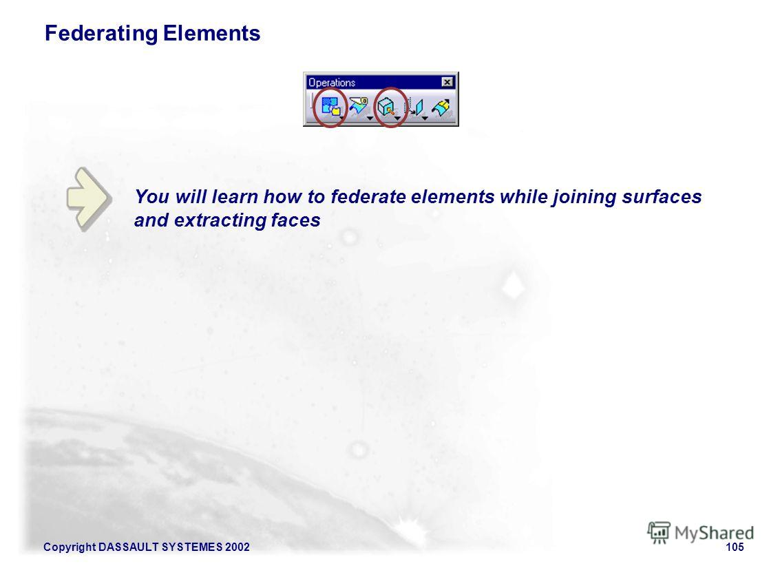 Copyright DASSAULT SYSTEMES 2002105 You will learn how to federate elements while joining surfaces and extracting faces Federating Elements