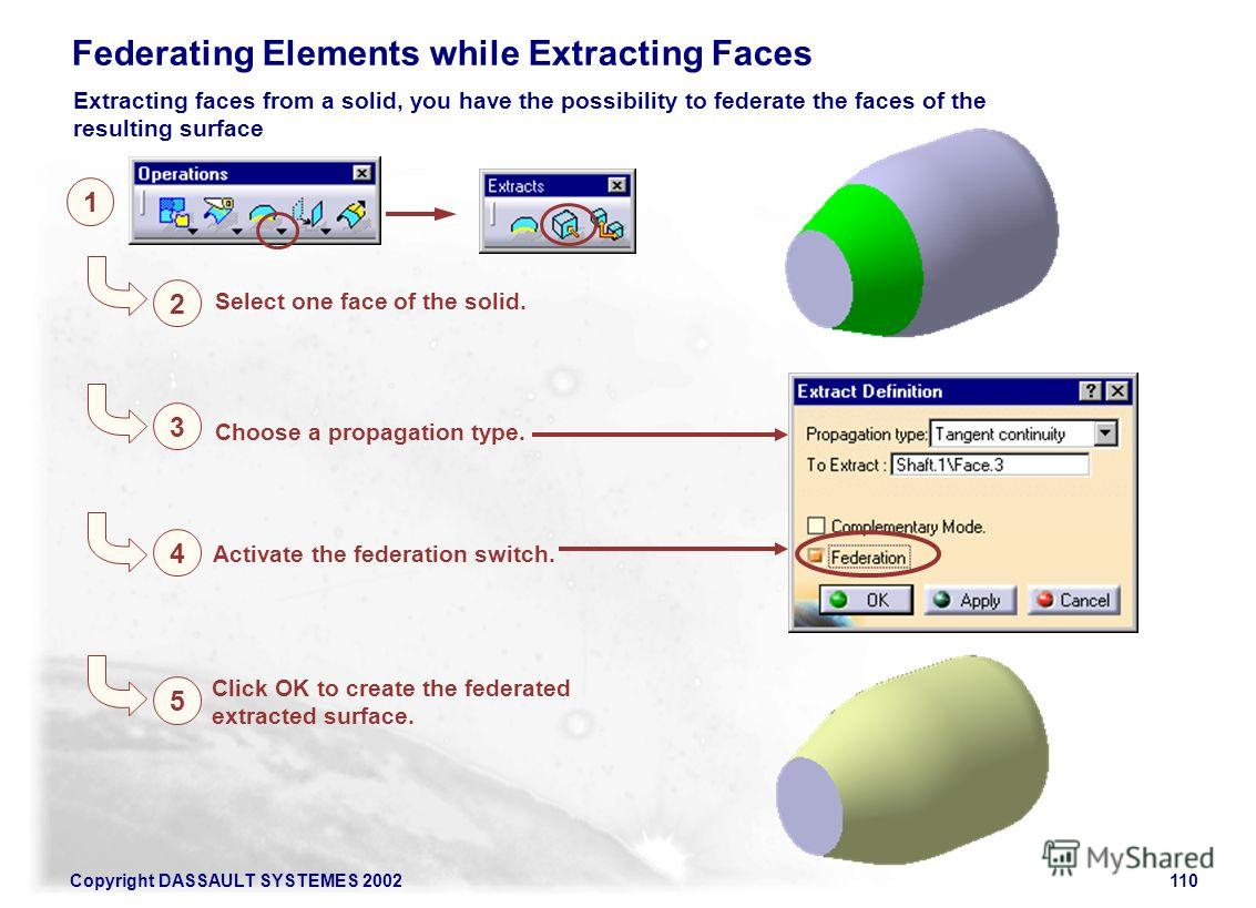Copyright DASSAULT SYSTEMES 2002110 Click OK to create the federated extracted surface. 1 2 Select one face of the solid. Federating Elements while Extracting Faces 3 Choose a propagation type. 4 Activate the federation switch. 5 Extracting faces fro