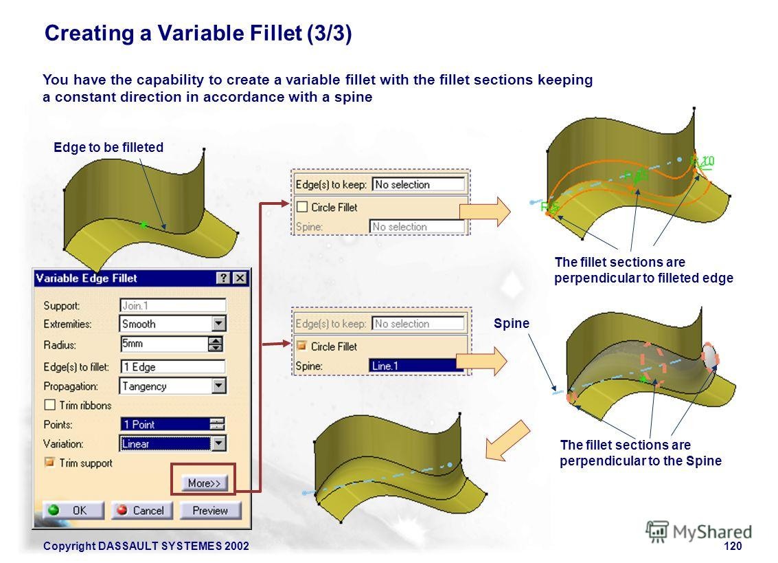 Copyright DASSAULT SYSTEMES 2002120 Creating a Variable Fillet (3/3) Edge to be filleted You have the capability to create a variable fillet with the fillet sections keeping a constant direction in accordance with a spine The fillet sections are perp