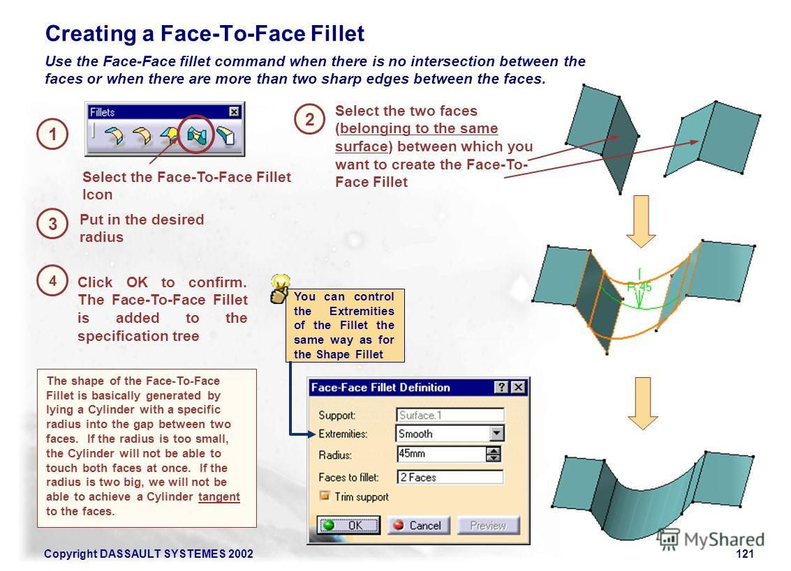 Copyright DASSAULT SYSTEMES 2002121 1 2 Select the Face-To-Face Fillet Icon Creating a Face-To-Face Fillet 3 Click OK to confirm. The Face-To-Face Fillet is added to the specification tree Select the two faces (belonging to the same surface) between