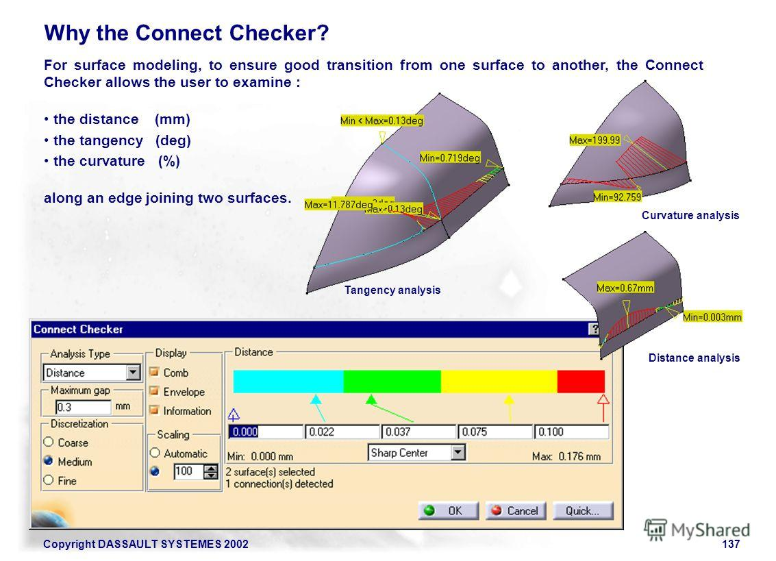 Copyright DASSAULT SYSTEMES 2002137 Why the Connect Checker? For surface modeling, to ensure good transition from one surface to another, the Connect Checker allows the user to examine : the distance (mm) the tangency (deg) the curvature (%) along an