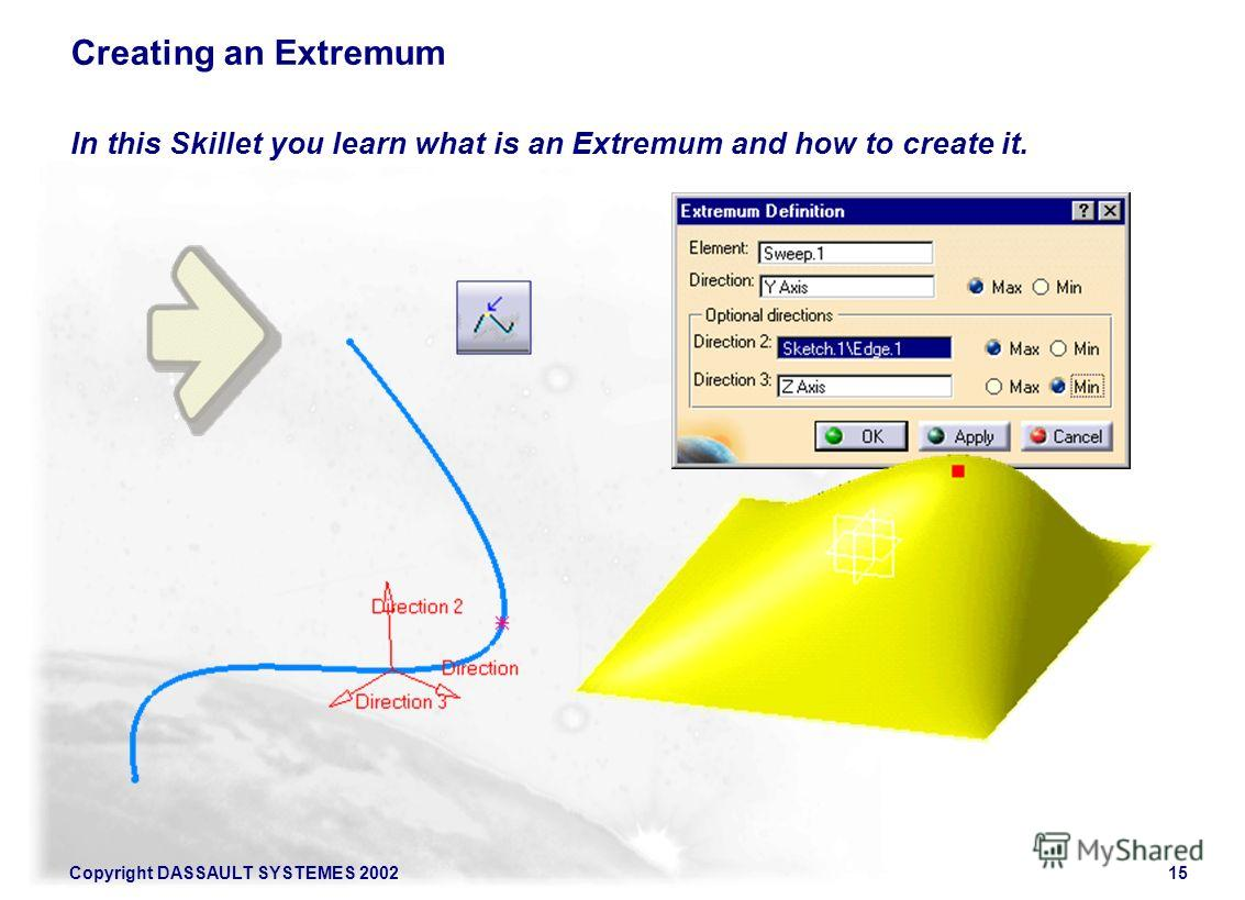 Copyright DASSAULT SYSTEMES 200215 In this Skillet you learn what is an Extremum and how to create it. Creating an Extremum