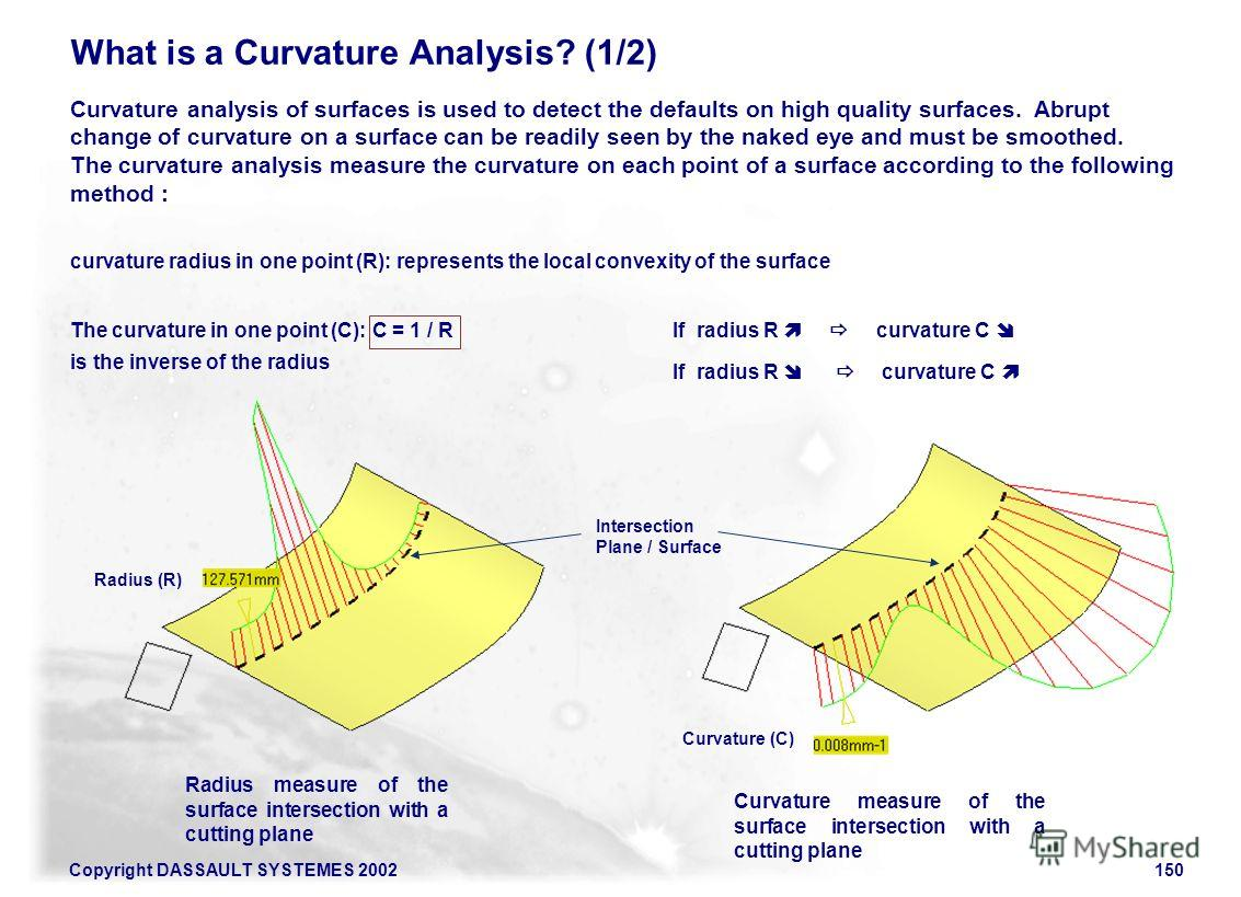 Copyright DASSAULT SYSTEMES 2002150 What is a Curvature Analysis? (1/2) Curvature analysis of surfaces is used to detect the defaults on high quality surfaces. Abrupt change of curvature on a surface can be readily seen by the naked eye and must be s