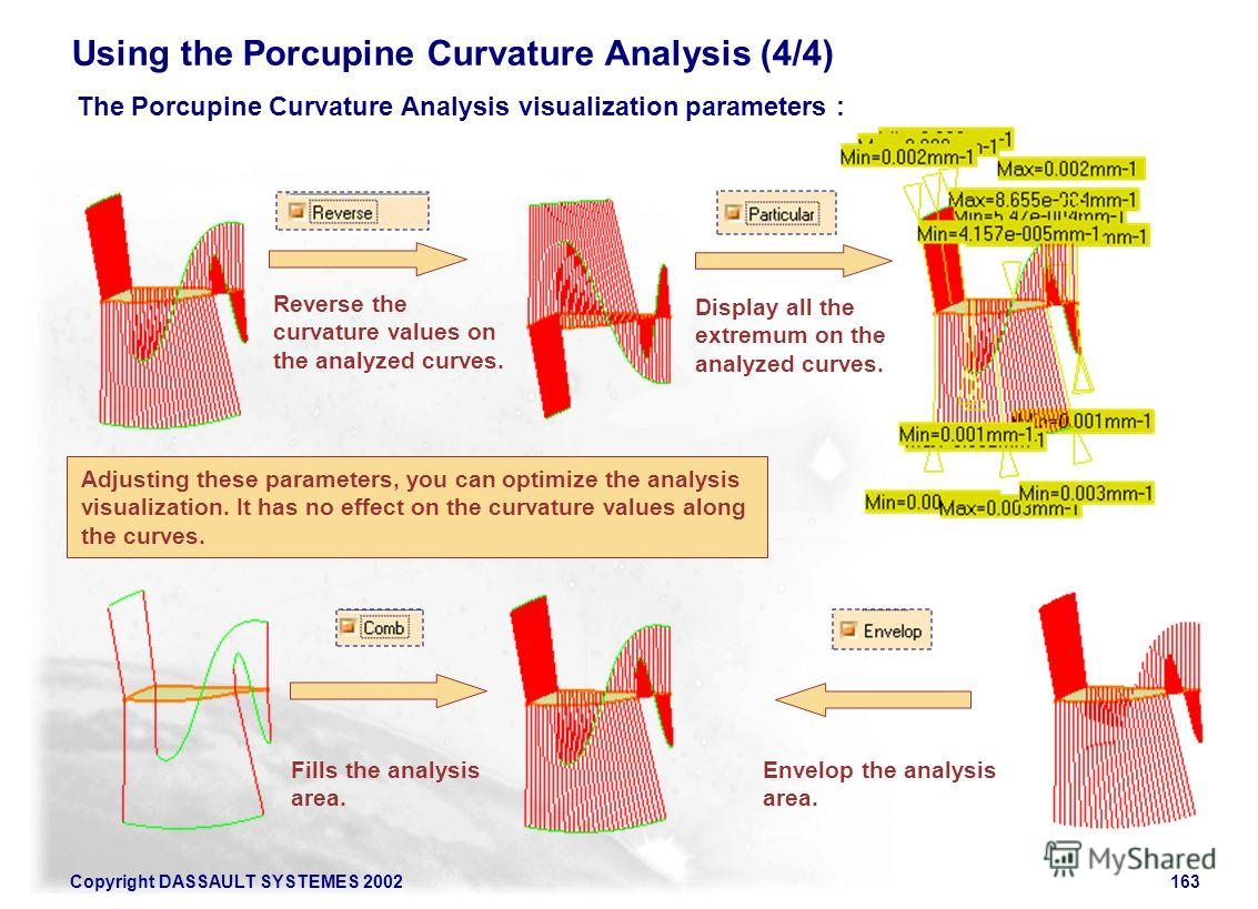 Copyright DASSAULT SYSTEMES 2002163 Using the Porcupine Curvature Analysis (4/4) The Porcupine Curvature Analysis visualization parameters : Reverse the curvature values on the analyzed curves. Display all the extremum on the analyzed curves. Fills t