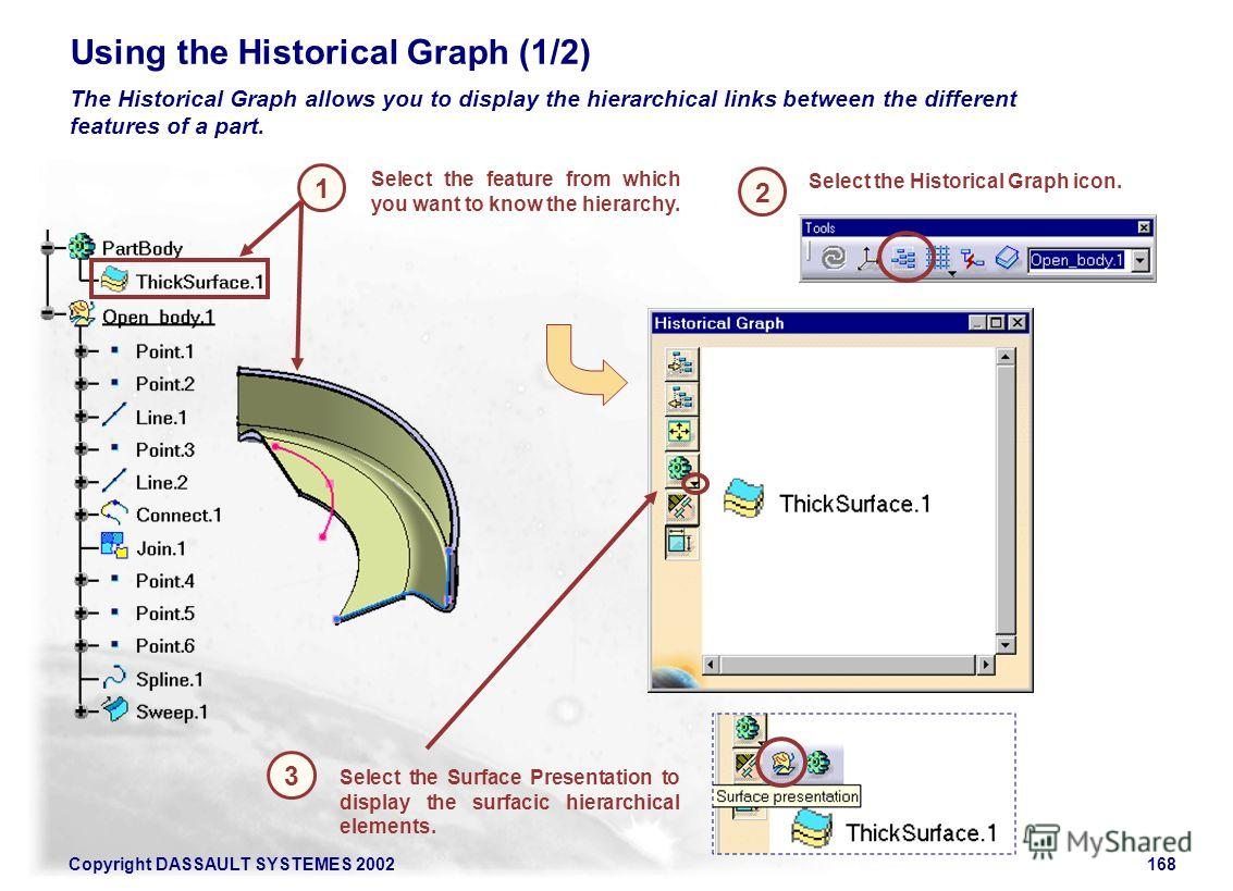 Copyright DASSAULT SYSTEMES 2002168 1 2 Using the Historical Graph (1/2) 3 Select the feature from which you want to know the hierarchy. The Historical Graph allows you to display the hierarchical links between the different features of a part. Selec