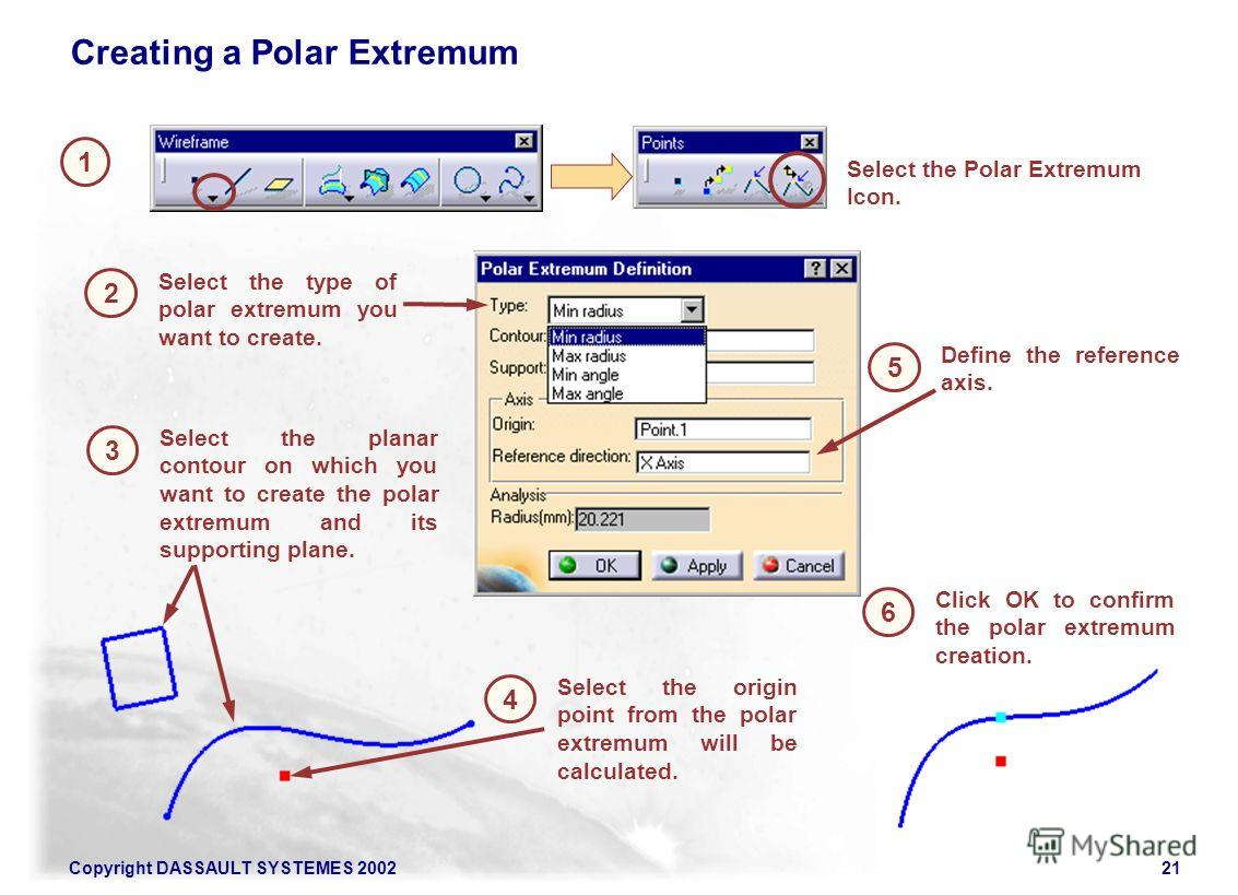Copyright DASSAULT SYSTEMES 200221 Creating a Polar Extremum 1 Select the Polar Extremum Icon. 2 Select the type of polar extremum you want to create. 3 Select the planar contour on which you want to create the polar extremum and its supporting plane