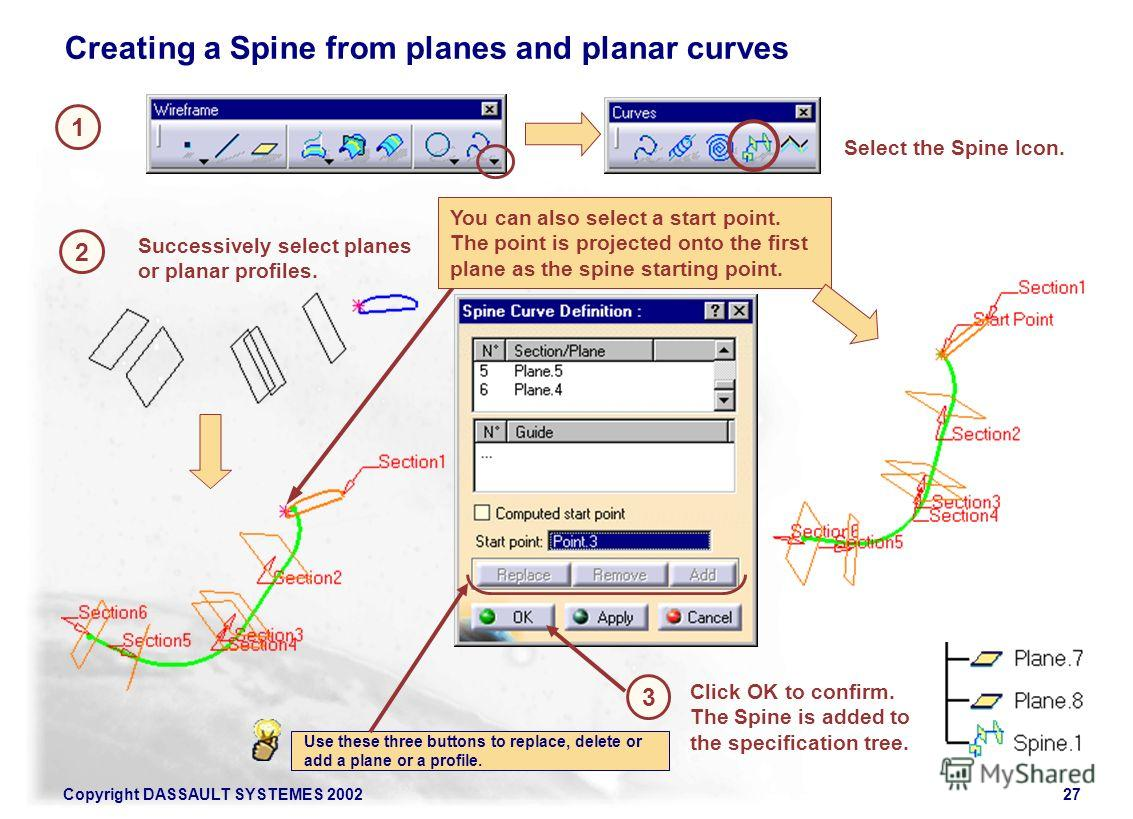 Copyright DASSAULT SYSTEMES 200227 1 2 Select the Spine Icon. Creating a Spine from planes and planar curves Successively select planes or planar profiles. 3 Click OK to confirm. The Spine is added to the specification tree. You can also select a sta