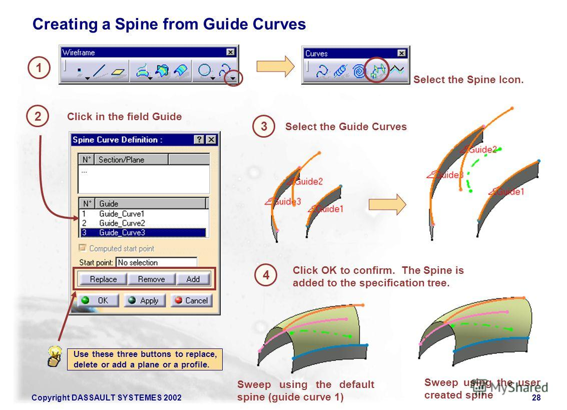 Copyright DASSAULT SYSTEMES 200228 1 2 Select the Spine Icon. Creating a Spine from Guide Curves Click in the field Guide 3 Click OK to confirm. The Spine is added to the specification tree. Use these three buttons to replace, delete or add a plane o