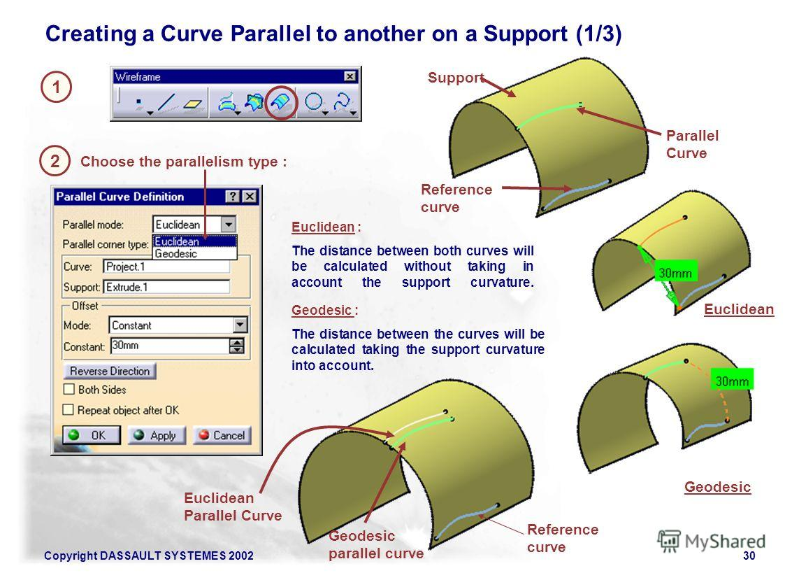 Copyright DASSAULT SYSTEMES 200230 1 Creating a Curve Parallel to another on a Support (1/3) 2 Choose the parallelism type : Geodesic : The distance between the curves will be calculated taking the support curvature into account. Reference curve Eucl