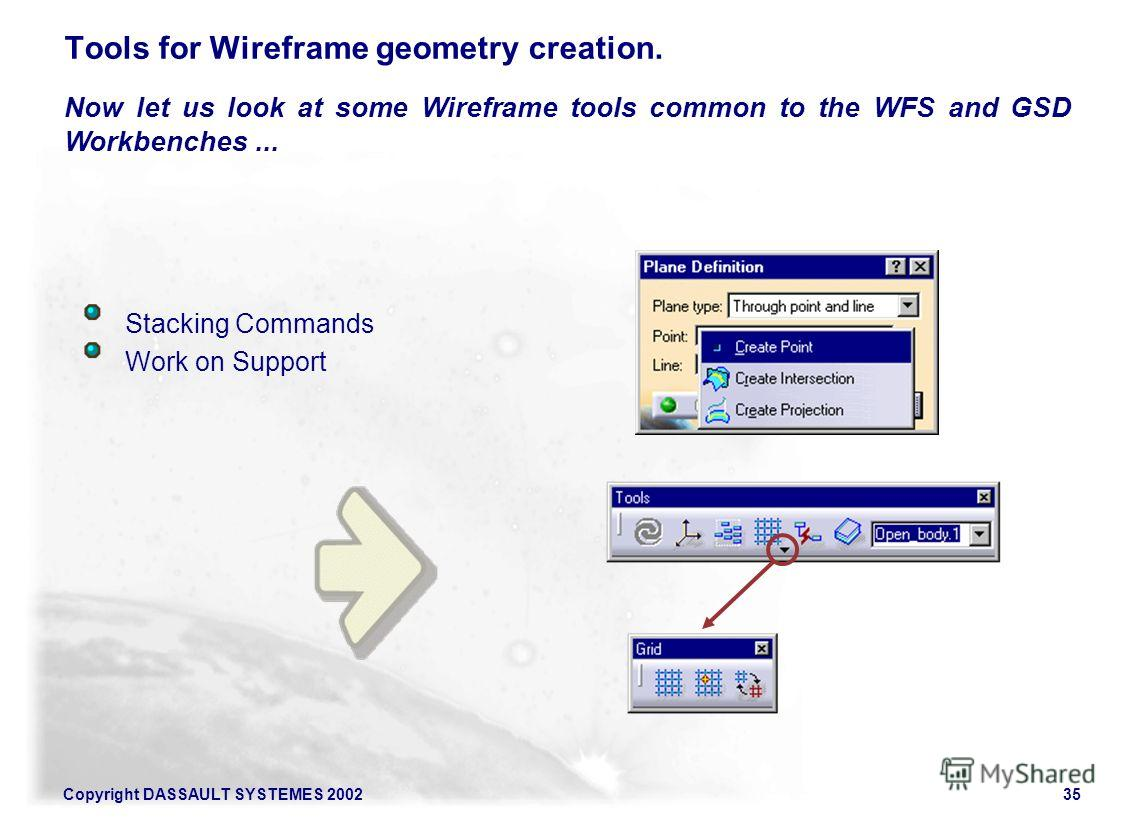 Copyright DASSAULT SYSTEMES 200235 Tools for Wireframe geometry creation. Stacking Commands Work on Support Now let us look at some Wireframe tools common to the WFS and GSD Workbenches...
