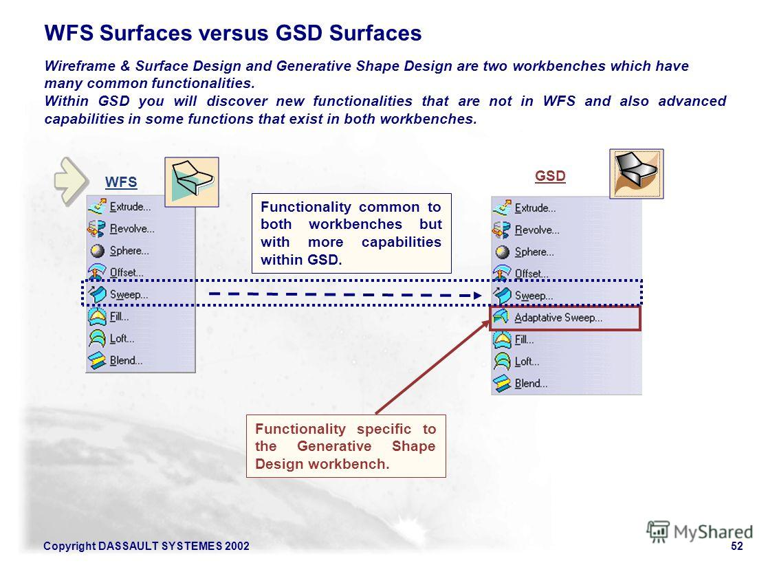 Copyright DASSAULT SYSTEMES 200252 WFS Surfaces versus GSD Surfaces Wireframe & Surface Design and Generative Shape Design are two workbenches which have many common functionalities. Within GSD you will discover new functionalities that are not in WF