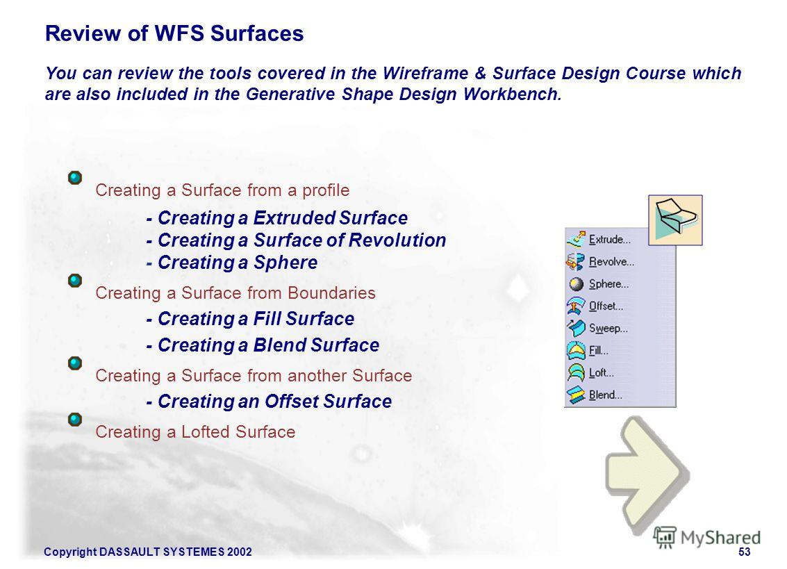 Copyright DASSAULT SYSTEMES 200253 Review of WFS Surfaces You can review the tools covered in the Wireframe & Surface Design Course which are also included in the Generative Shape Design Workbench. Creating a Surface from a profile - Creating a Extru