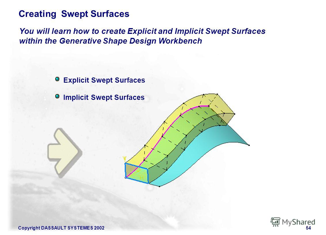 Copyright DASSAULT SYSTEMES 200254 Explicit Swept Surfaces Implicit Swept Surfaces You will learn how to create Explicit and Implicit Swept Surfaces within the Generative Shape Design Workbench Creating Swept Surfaces
