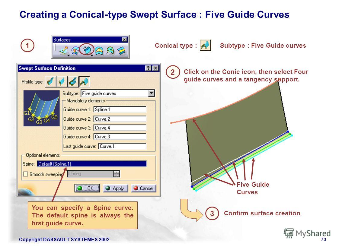 Copyright DASSAULT SYSTEMES 200273 1 2 Creating a Conical-type Swept Surface : Five Guide Curves Conical type : 3 Confirm surface creation Click on the Conic icon, then select Four guide curves and a tangency support. You can specify a Spine curve. T