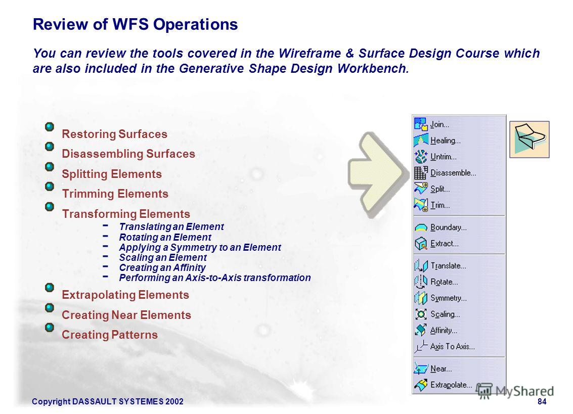 Copyright DASSAULT SYSTEMES 200284 Review of WFS Operations You can review the tools covered in the Wireframe & Surface Design Course which are also included in the Generative Shape Design Workbench. Restoring Surfaces Disassembling Surfaces Splittin