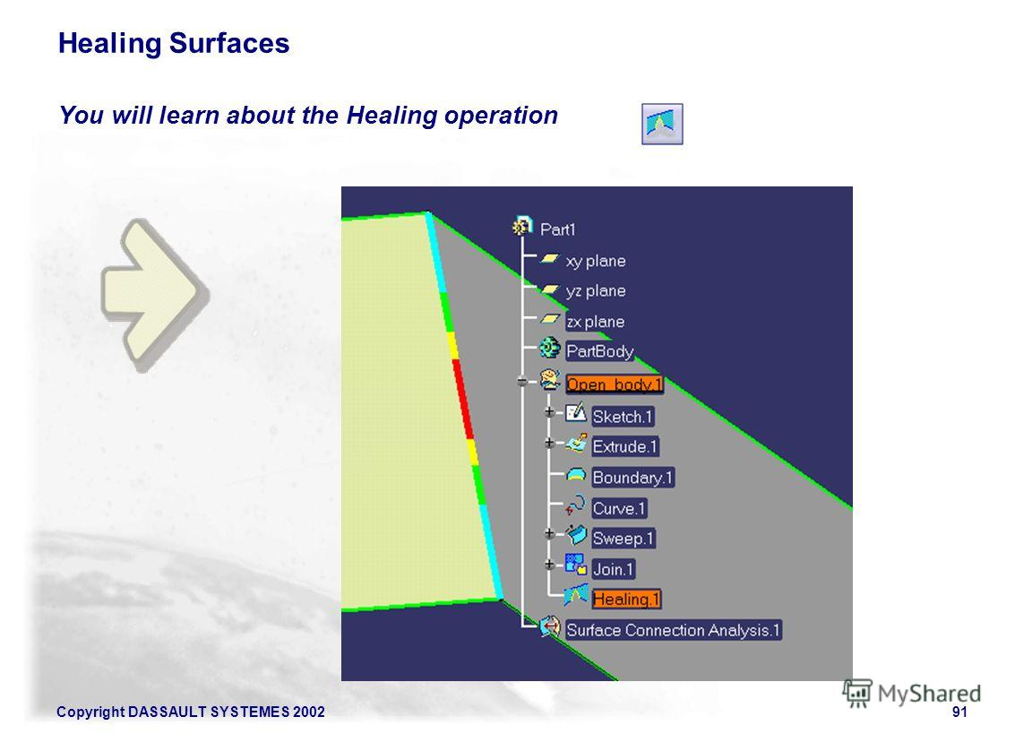 Copyright DASSAULT SYSTEMES 200291 Healing Surfaces You will learn about the Healing operation