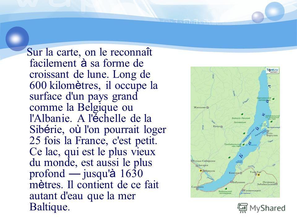 Sur la carte, on le reconna î t facilement à sa forme de croissant de lune. Long de 600 kilom è tres, il occupe la surface d'un pays grand comme la Belgique ou l'Albanie. A l' é chelle de la Sib é rie, o ù l'on pourrait loger 25 fois la France, c'est
