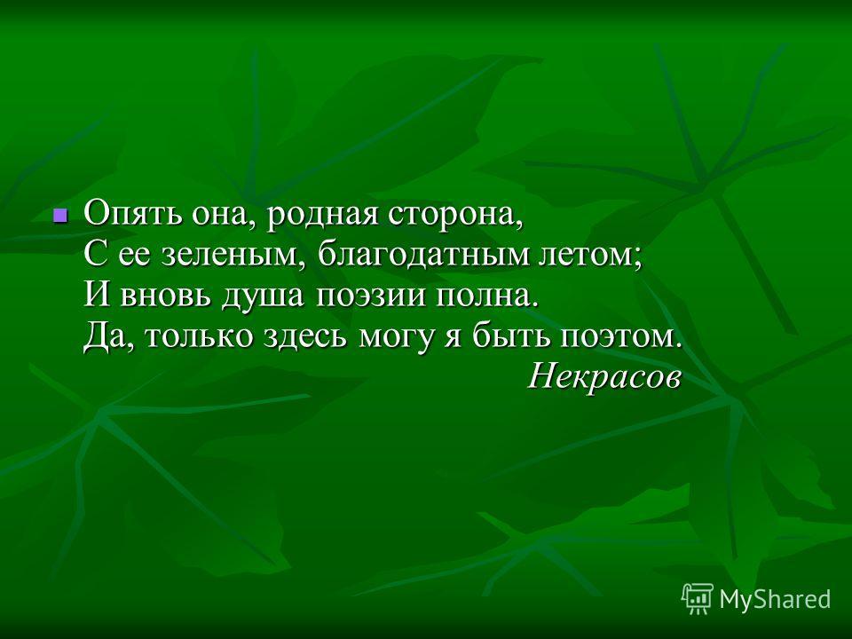 Опять она, родная сторона, С ее зеленым, благоданным летом; И вновь душа поэзии польна. Да, только здесь могу я быть поэтом. Некрасов Опять она, родная сторона, С ее зеленым, благоданным летом; И вновь душа поэзии польна. Да, только здесь могу я быть