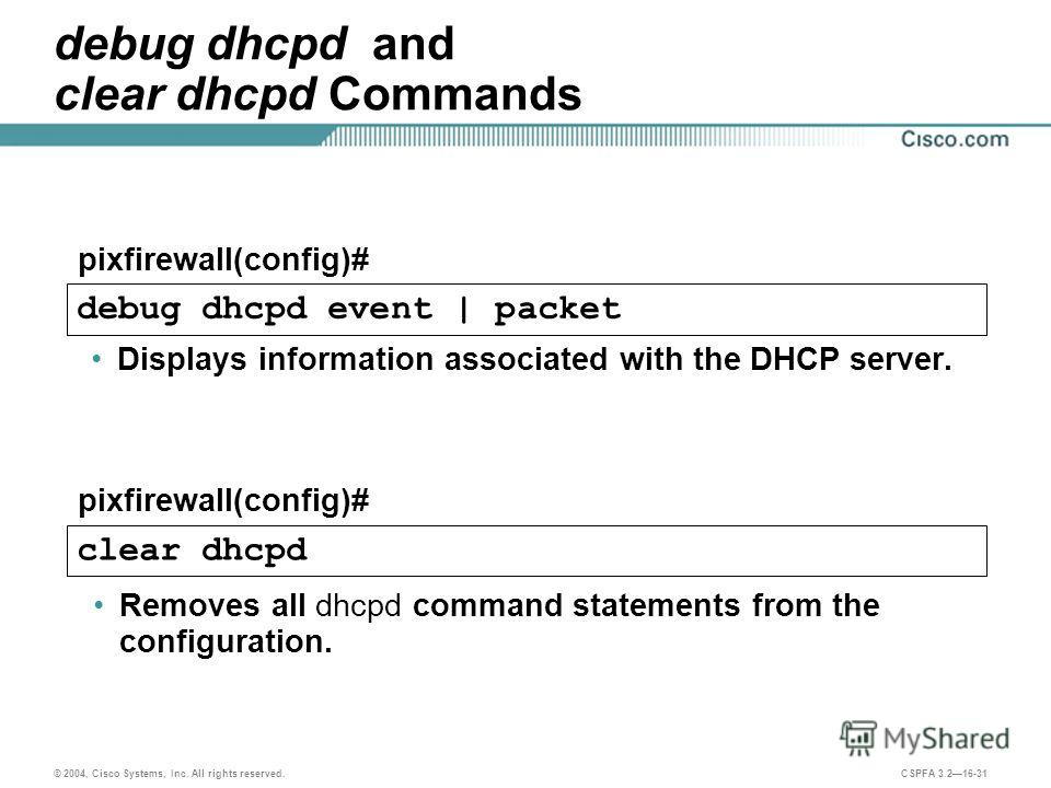 © 2004, Cisco Systems, Inc. All rights reserved. CSPFA 3.216-31 debug dhcpd and clear dhcpd Commands Displays information associated with the DHCP server. Removes all dhcpd command statements from the configuration. pixfirewall(config)# debug dhcpd e