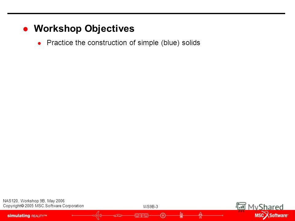 WS9B-3 NAS120, Workshop 9B, May 2006 Copyright 2005 MSC.Software Corporation l Workshop Objectives l Practice the construction of simple (blue) solids