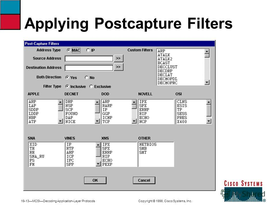 19-13MCSIDecoding Application-Layer Protocols Copyright © 1998, Cisco Systems, Inc. Applying Postcapture Filters