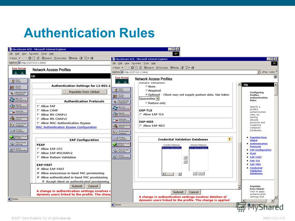 © 2007 Cisco Systems, Inc. All rights reserved.SNRS v2.02-30 Authentication Rules