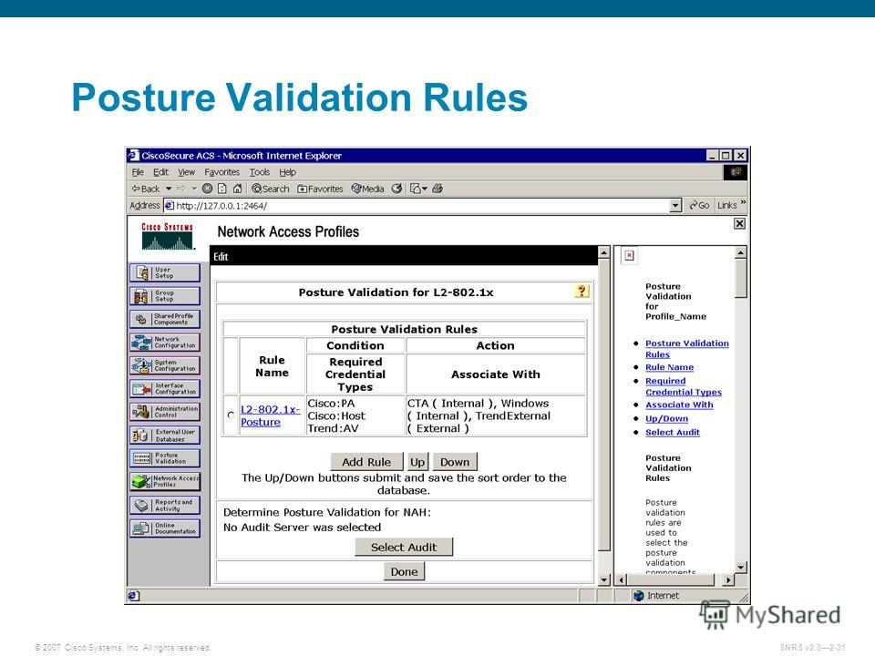 © 2007 Cisco Systems, Inc. All rights reserved.SNRS v2.02-31 Posture Validation Rules