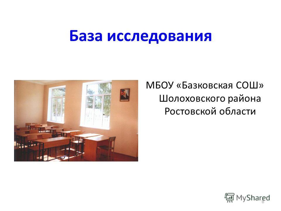База исследования МБОУ «Базковская СОШ» Шолоховского района Ростовской области 8