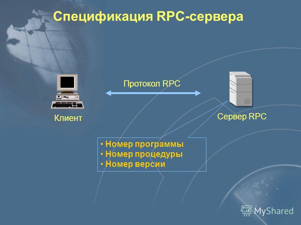 Удалённый вызов процедур Канальный уровень Физический уровень Сетевой уровень Транспортный уровень Уровень соединения Уровень представления Уровень приложения 7 6 5 4 3 2 1 Ethernet, FDDI, X.25 и другие Сетевой уровень IP TCP, UDP RPC