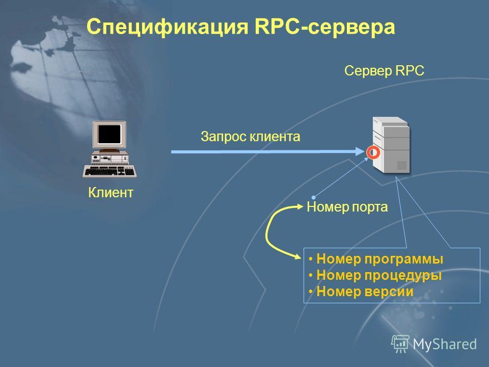 Клиент Сервер RPC Протокол RPC Спецификация RPC-сервера Номер программы Номер процедуры Номер версии