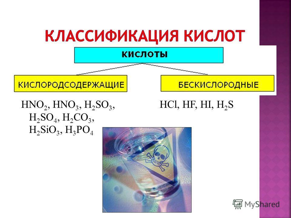 HNO 2, HNO 3, H 2 SO 3, H 2 SO 4, H 2 CO 3, H 2 SiO 3, H 3 PO 4 HCl, HF, HI, H 2 S