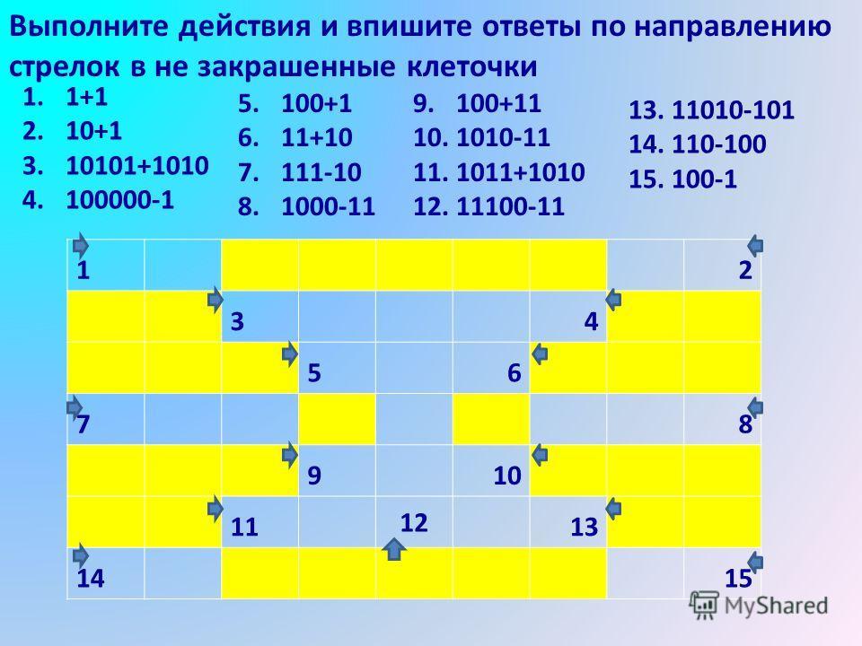 Выполните действия и впишите ответы по направлению стрелок в не закрашенные клеточки 12 34 56 78 910 11 12 13 1415 1.1+1 2.10+1 3.10101+1010 4.100000-1 5.100+1 6.11+10 7.111-10 8.1000-11 9.100+11 10.1010-11 11.1011+1010 12.11100-11 13.11010-101 14.11