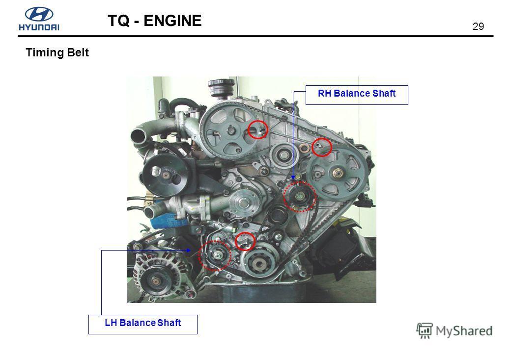29 TQ - ENGINE LH Balance Shaft RH Balance Shaft Timing Belt