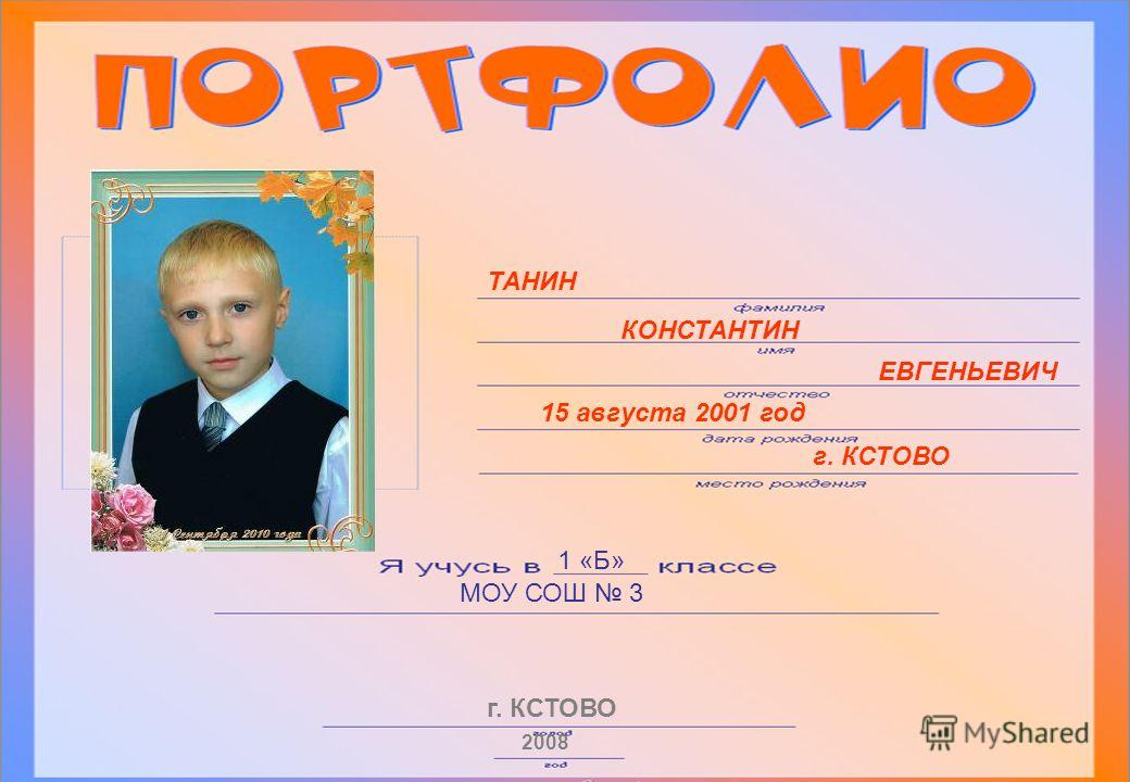 ТАНИН КОНСТАНТИН ЕВГЕНЬЕВИЧ 15 августа 2001 год г. КСТОВО 1 «Б» МОУ СОШ 3 г. КСТОВО 2008