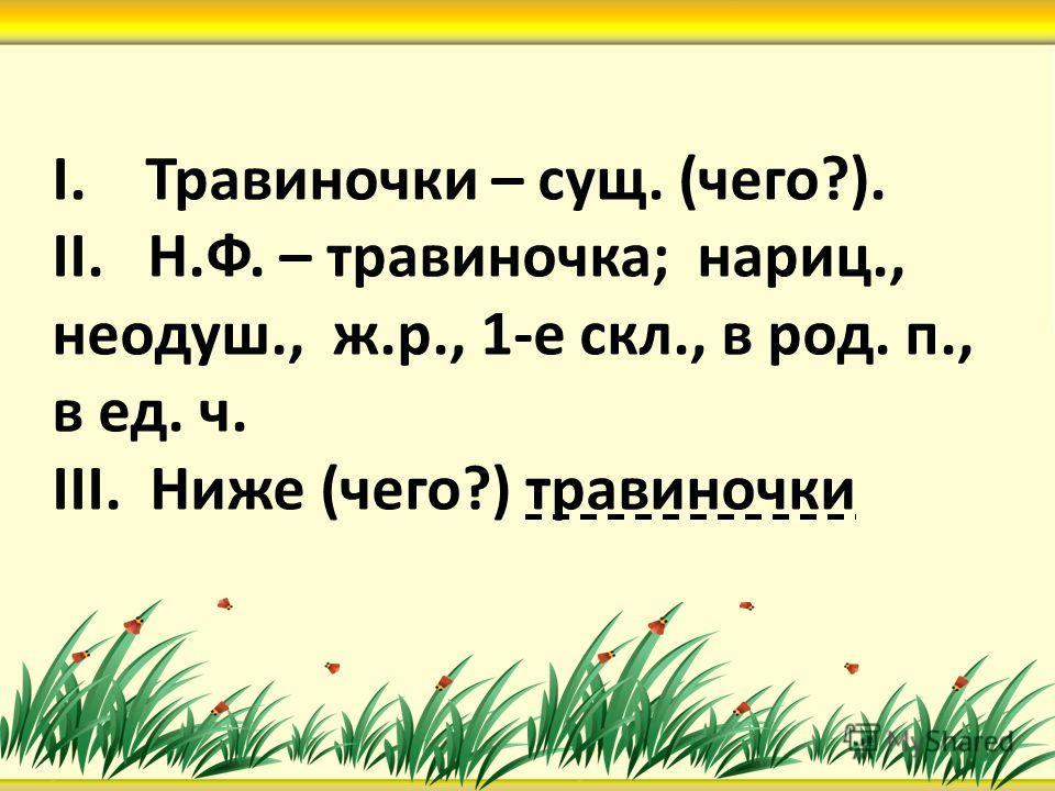 I. Травиночки – сущ. (чего?). II. Н.Ф. – травиночка; нариц., неодуш., ж.р., 1-е скл., в род. п., в ед. ч. III. Ниже (чего?) травиночки