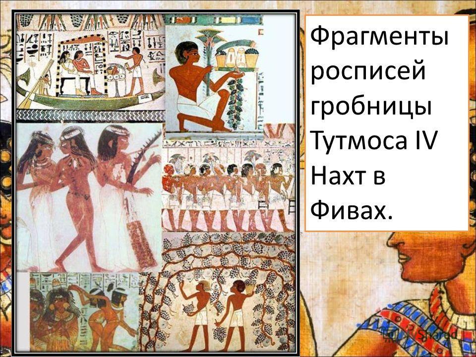 Фрагменты росписей гробницы Тутмоса IV Нахт в Фивах.