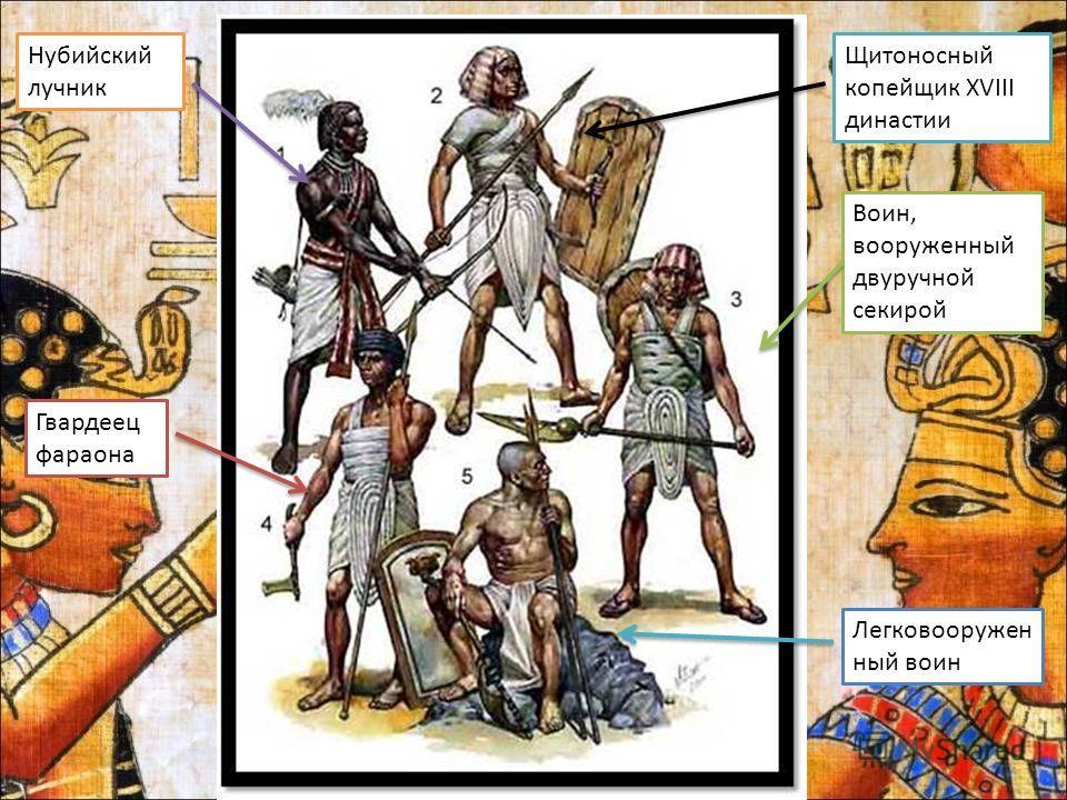 Нубийский лучник Щитоносный копейщик XVIII династии Воин, вооруженный двуручной секирой Гвардеец фараона Легковооружен ный воин