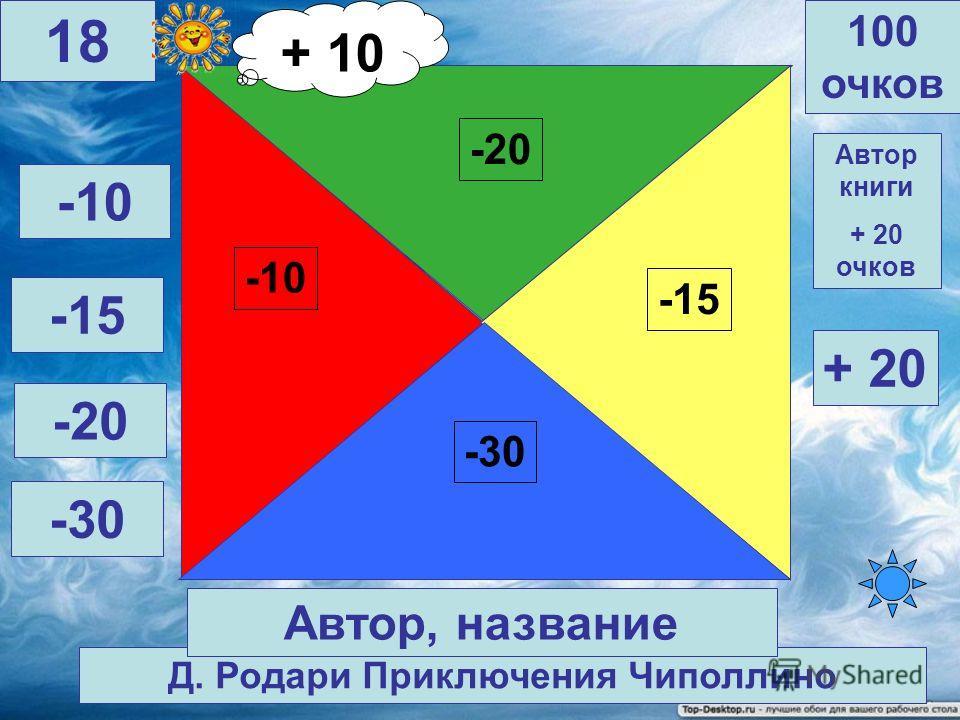 Ш. Перро Золушка -30 -20 -15 -10 100 очков 17 Автор, название Автор книги + 20 очков -10 -15 -20 -30 + 20 + 10