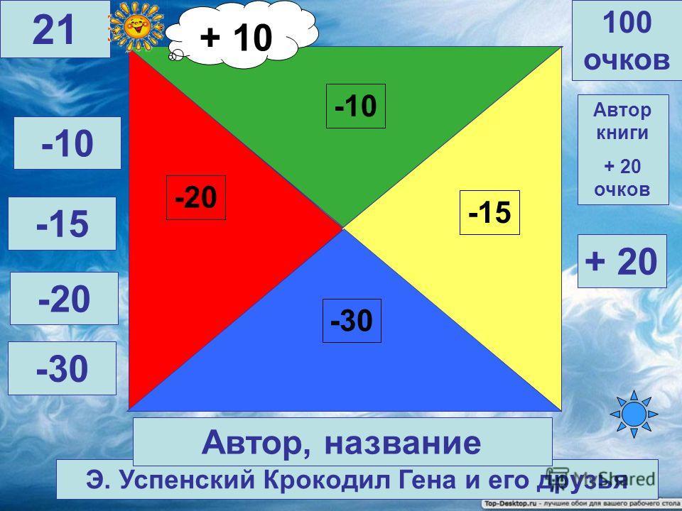Гауф В. Карлик Нос -10 -30 -15 -20 100 очков 20 Автор, название Автор книги + 20 очков -10 -15 -20 -30 + 20 + 10