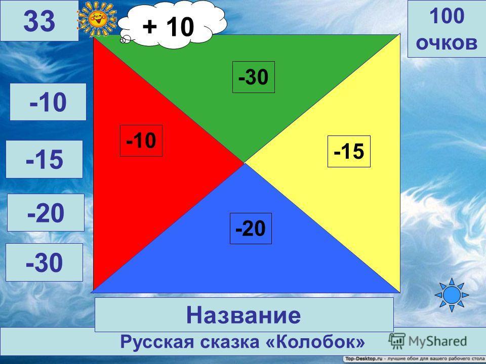 Ершов П. Конек - горбунок -30 -10 -15 -20 100 очков 32 Автор, название -10 -15 -20 -30 + 20 Автор книги + 20 очков + 10