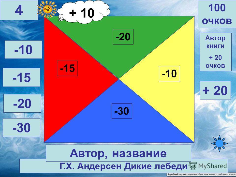 Ш. Перро Кот в сапогах -20 -15 -10 -30 Автор книги + 20 очков 100 очков 3 Автор, название -10 -15 -20 -30 + 20 + 10