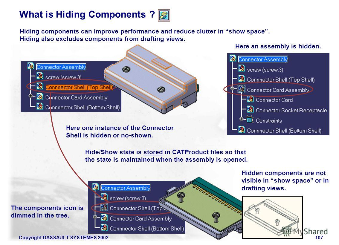 Copyright DASSAULT SYSTEMES 2002107 What is Hiding Components ? Hiding components can improve performance and reduce clutter in show space. Hiding also excludes components from drafting views. Here one instance of the Connector Shell is hidden or no-