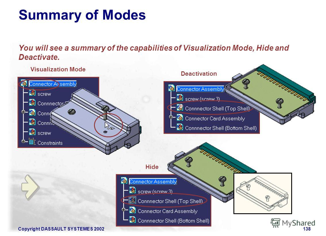 Copyright DASSAULT SYSTEMES 2002138 Summary of Modes You will see a summary of the capabilities of Visualization Mode, Hide and Deactivate. Visualization Mode Deactivation Hide