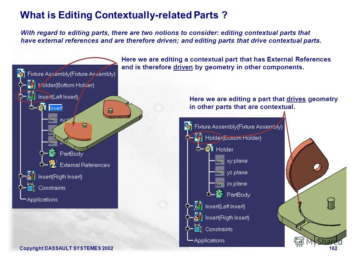 Copyright DASSAULT SYSTEMES 2002162 What is Editing Contextually-related Parts ? With regard to editing parts, there are two notions to consider: editing contextual parts that have external references and are therefore driven; and editing parts that
